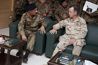 II Corps (Pakistan) - Chairman Joint Chiefs (United States Military) Admiral Mike Mullen speaks with Pakistan Army Lt. Gen. Shafqat Ahmed, the commander of II Corps, in Multan, Pakistan (2 September 2010)