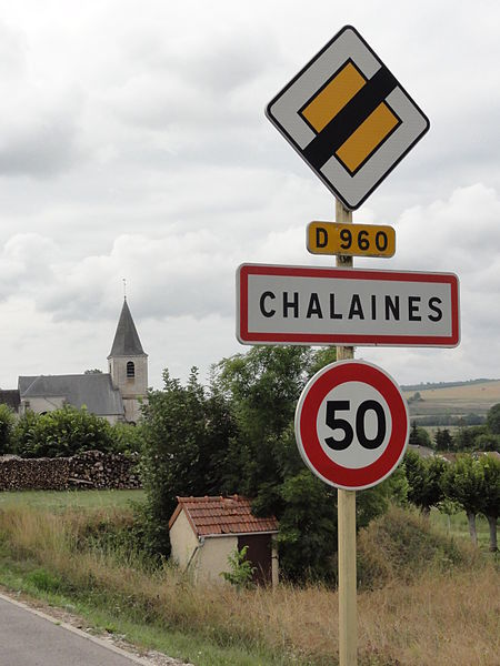 Chalaines (Meuse) city limit sign
