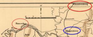 Battle of Moorefield - Image: Chambersburg Hancock Hagerstown