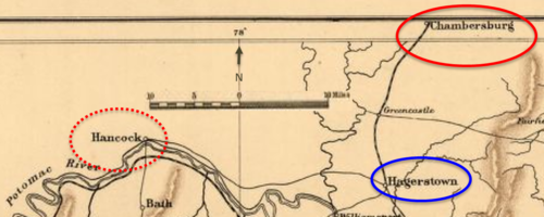 old map with points of interest circled