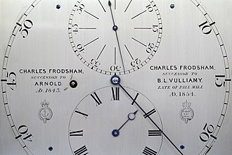 Charles Frodsham - Regulator dial, showing succession to Arnold and Vulliamy businesses