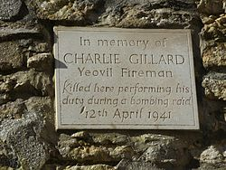 Photo of Charlie Gillard stone plaque