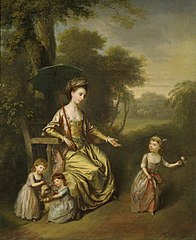 Charlotte Newcomen, Lady Gleadowe-Newcomen, 1st Viscountess Newcomen (c.1747-1817) with her Daughters Jane, Teresa and Charlotte in a Garden