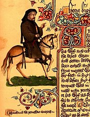 Chaucer as a pilgrim from the Ellesmere Manuscript, 15th century