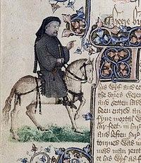 Chaucer rappresentato come un pellegrino nel manoscritto Ellesmere.
