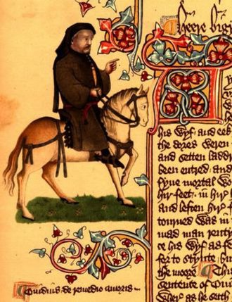 Geoffrey Chaucer - Chaucer as a pilgrim from the Ellesmere manuscript