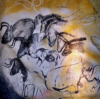 Aurochs - Replica of Chauvet cave art depicting aurochs, woolly rhino, and wild horses