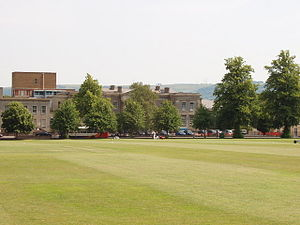 Cheltenham General Hospital - View of the hospital across the college cricket ground