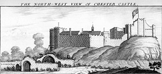 Chester Castle - Engraving by Buck Brothers of Chester Castle in 1747