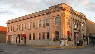 Olney, Illinois - Front and northern side of the Olney CNB Bank, located at 202 S. Whittle Street in Olney