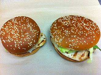 Burger King grilled chicken sandwiches - An example of the Chicken Whopper Jr. (left) and the Chicken Whopper.