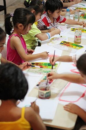 Halkevleri - Children having free lessons from volunteer teachers in Halkevleri branches during summertime