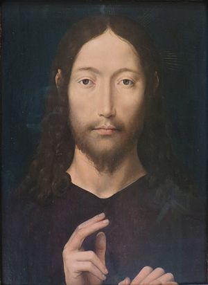 Self-Portrait (Dürer, Munich) - Blessing Christ by Hans Memling, a typical devotional portrait of the late 15th century