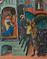Christ before Pilate, and before Herod; angels in border (f. 54v) Cropped.jpg