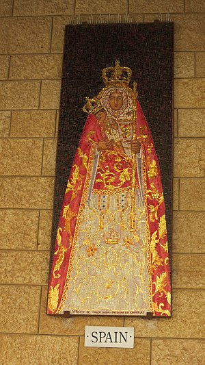 Virgin of Candelaria - Ceramic mosaic depicting the Virgin of Candelaria of Tenerife found in the Basilica of the Annunciation in Nazareth (Israel).