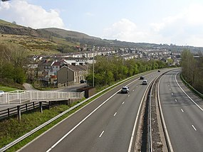 Cilfynydd from footbridge over the A470.jpg