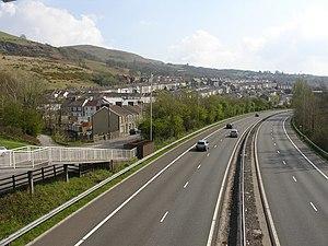 Cilfynydd - Image: Cilfynydd from footbridge over the A470