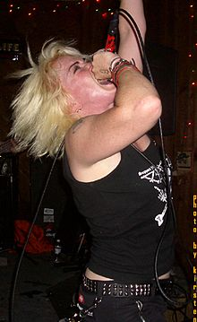 Cinder Block performing with Retching Red, 2005.