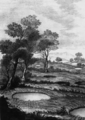 Circular settlement of sandy deposits in the Rosarno Plain (from an original etching in Sarconi, 1784) - 1783 Calabrian earthquake.png