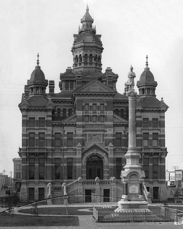 City Hall and Volunteer Monument, Winnipeg, MB, 1887