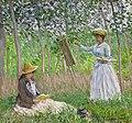 Claude Monet - En el bosque en giverny blanche hoschede con su-caballete con suzanne hoschede leyendo.jpg