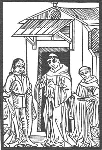 Claude Noury 1506 Knight Owein and Prior at St Patrick's Purgatory.jpg