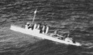 Clemson-class destroyer - Clemson-class destroyer (possibly USS ''Pope'') sinking, c.1942.
