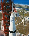 Closeup of Apollo 11 Saturn V and spacecraft at pad (48280225957).jpg