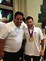 Coach Nimrod Bichler with Gold Medalist Noam Gershony.JPG
