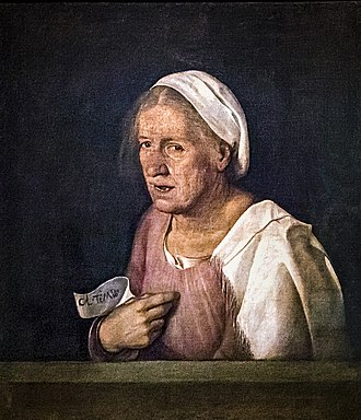 Avarice (Dürer, Vienna) - Giorgione's Col tempo ('With age'), 1500-1510, shares the depiction of loose strands of hair, sagging breasts and an ambiguous facial expression with Dürer's 1507 morality painting.