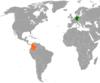 Lage von Deutschland und Kolumbien