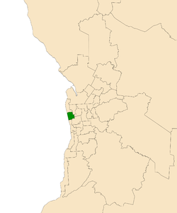 Map of Adelaide, South Australia with the electoral district of Colton highlighted