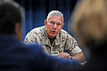 Commandant of the Marine Corps Gen. James Conway holds a press briefing at the Pentagon Aug. 24, 2010, to talk about his impressions following a recent trip to meet with U.S. Marines in the U.S. Central Command 100824-D-WQ296-124.jpg