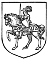 Fig. 359.—A chevalier on horseback.