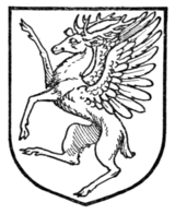 Fig. 390.—Winged stag rampant.