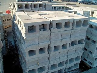Concrete masonry unit standard size rectangular block used in building construction