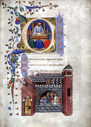 The Consolation of Philosophy - From a 1385 Italian manuscript of the Consolation: Miniatures of Boethius teaching and in prison