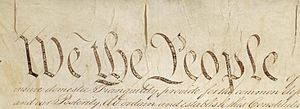 Detail of Preamble to US Constitution
