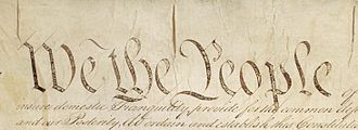 "Jeffersonian democracy - ""We the People"" in an original edition of the U.S. Constitution."