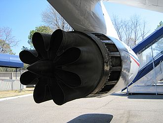 General Electric CJ805 - Rear view of a CJ805-3 turbojet equipped with a scalloped nozzle hush kit.