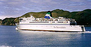Toll Shipping's Arahura in the Marlborough Sounds after crossing the Cook Strait.