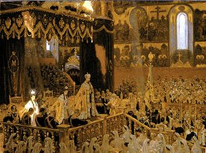 Portrait by L. Tuxen of the coronation of Tsar Nicholas II and the Empress Alexandra Feodorovna, which took place on 26 May [O.S. 14 May] 1896 at the Uspensky Sobor Cathedral of the Moscow Kremlin amongst extraordinary opulence and splendor. Seated upon the dais, from left to right, the Dowager Empress Maria Feodorovna, Empress Alexandra Fyodorovna, and Tsar Nicholas II