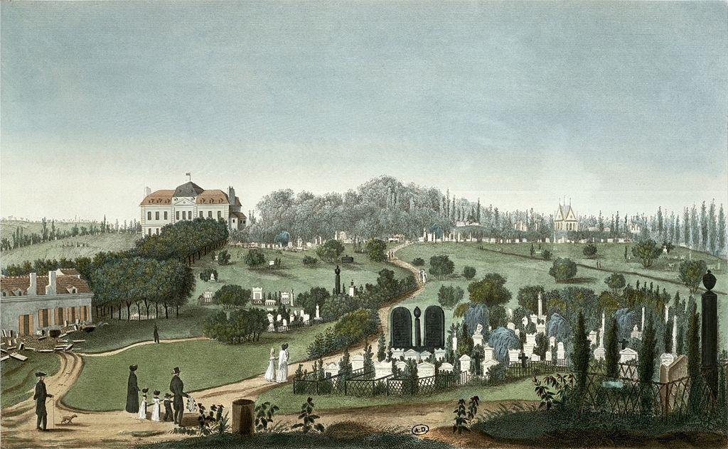 Vue sur le cimetière du Père Lachaise en 1815 par Courvoisier.
