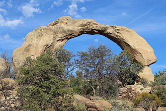 Aztec, New Mexico - Cox Canyon Arch with Moon Rising