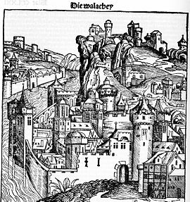 Wallachia as pictured in the 1493 Nuremberg Chronicle
