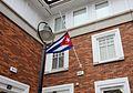 Cuban flag at half-mast on the Embassy in Dublin (30489692003).jpg