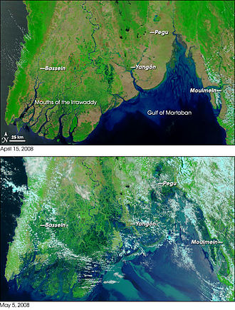 Cyclone Nargis - Satellite photography of the Irrawaddy Delta before (top) and after (bottom) Nargis hit the area.