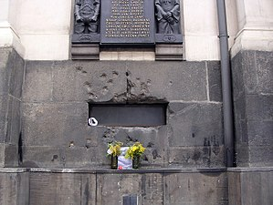 Jan Kubiš - Bullet-scarred window of the Church of St Cyril and St Methodious in Prague where Kubiš and his compatriots were cornered.