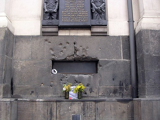 Bullet-scarred window in the Church of St. Cyril and St. Methodius in Prague, where Kubis and his compatriots were cornered CyrilMethodious.JPG
