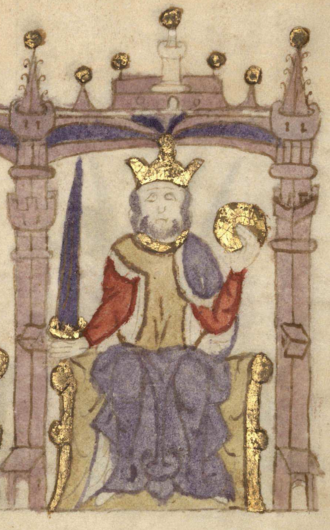 Afonso I of Portugal - King Afonso in the Castilian manuscript Compendium of Chronicles of Kings (...) (c. 1312–1325)